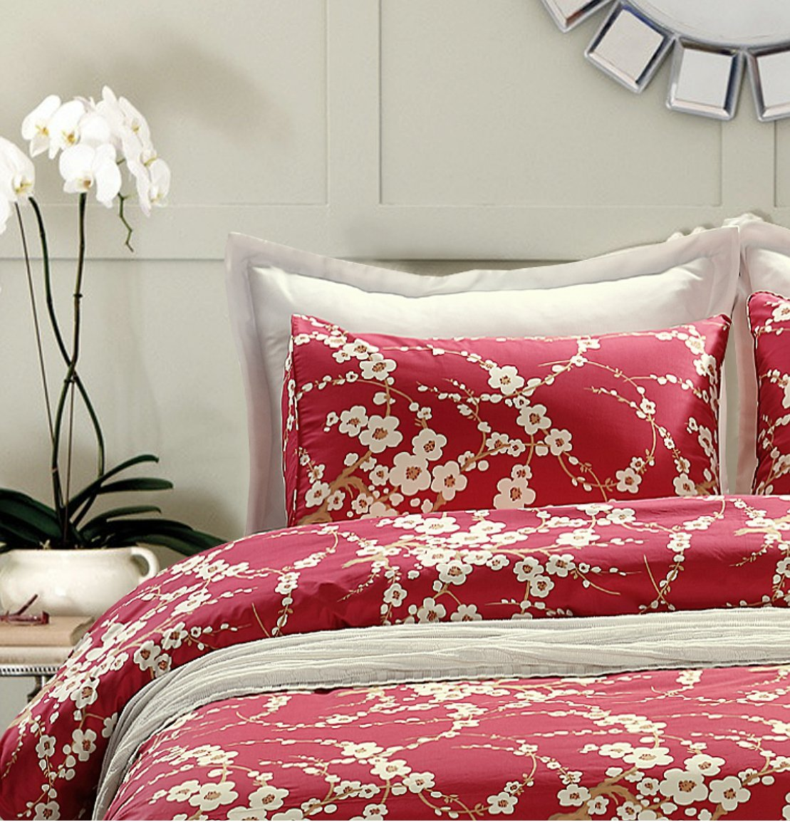 Red Cherry Blossom Duvet Cover And Pillow Cover Set Sweety Pie Inc