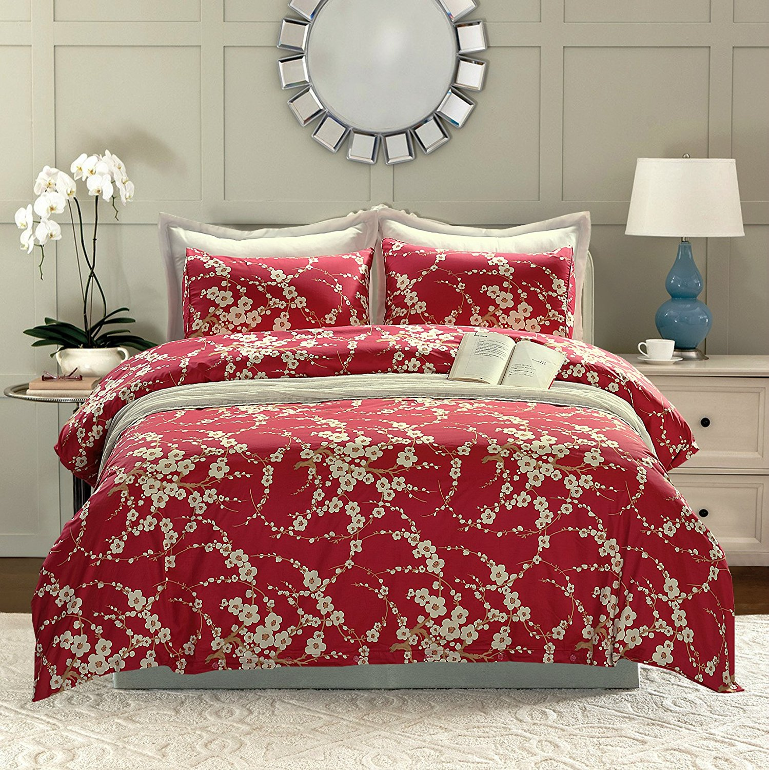 Red Cherry Blossom Duvet Cover And Pillow Cover Set